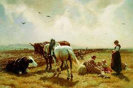 Rudolf Koller (1828–1905), Mittagsmahl auf dem Felde,1869 Öl auf Leinwand, 133 x 196 cm Eigentum der Schweizerischen Eidgenossenschaft, Gottfried Keller-Stiftung, Bern
